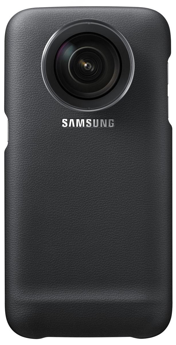 Samsung ET-CG930 Lens Cover чехол с комплектом сменных объективов для Galaxy S7, BlackET-CG930DBEGRUЧехол Samsung Lens Cover превращает ваш Galaxy S7 в камерофон. Он выполнен из плотного поликарбоната с матовой поверхностью и имеет резьбовой вход для съемного объектива. Получите гораздо больше возможностей для фотографирования с невероятной чёткостью. Защитный чехол со сменными объективами позволит по-новому раскрыть ваши способности фотографа без потери качества получаемых изображений. Расширьте ваш творческий потенциал благодаря премиальным широкоугольному и телеобъективу, выполненным из нержавеющей стали, и наслаждайтесь великолепными фотографиями без искажений. Будьте готовы, когда нахлынет вдохновение! Установите нужный сменный объектив за считанные секунды, чтобы не упустить ни одного момента. Широкоугольный объектив: Угол обзора: 108° Увеличение: 0.63x Размеры: 39,6 x 21,5 мм Телефото объектив: Угол обзора: 45° Увеличение: 2x Размеры: 39,6 x 30,8 мм