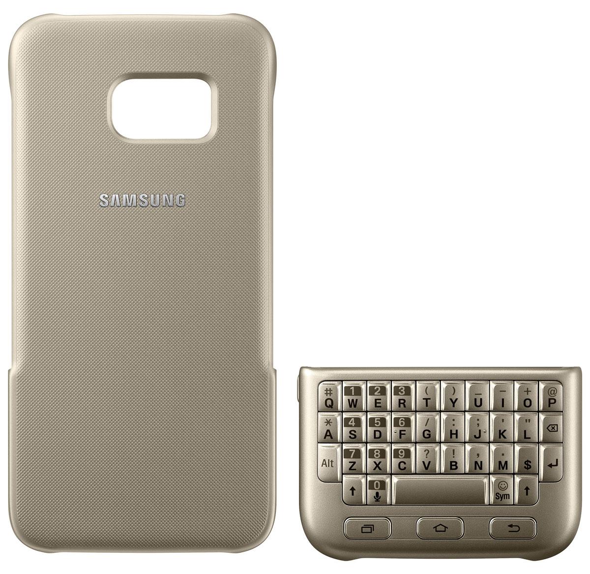 Samsung EJ-CG930 Keyboard Cover чехол-клавиатура для Galaxy S7, GoldEJ-CG930UFEGRUЧехол-клавиатура Samsung EJ-CG930 Keyboard Cover разработан специально для модели смартфона Galaxy S7. С его помощью набирать текст сообщений, создавать и сохранять заметки быстрее и проще. Накладная клавиатура работает по механическому принципу - она не тратит проценты заряда вашего смартфона и не требует дополнительных подключений. Клавишный блок можно разместить поверх экрана - смартфон автоматически распознает его и адаптирует интерфейс к новому размеру дисплея. Чехол также выполняет защитную функцию - предохраняет смартфон от пыли и повреждений. Модель совместима с ОС Android 4.4 или выше.