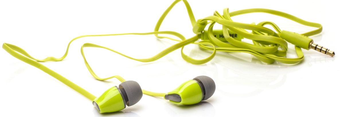 Harper Kids H-52, Green наушникиH00000570Яркие и стильные наушники Harper Kids H-52 с отличным качеством звучания. Гарнитура имеет встроенный пульт и микрофон для быстрого переключения между музыкой и вызовами. Подключив её к своему смартфону или планшету вы сможете не только наслаждаться любимой музыкой, но и с легкостью ответить на звонок, не доставая гаджет. Гарнитура имеет плоский, эластичный и устойчивый к запутыванию кабель длиной 1,2 метра. В комплекте с наушниками идут мягкие силиконовые накладки 3-х размеров для максимального комфорта.