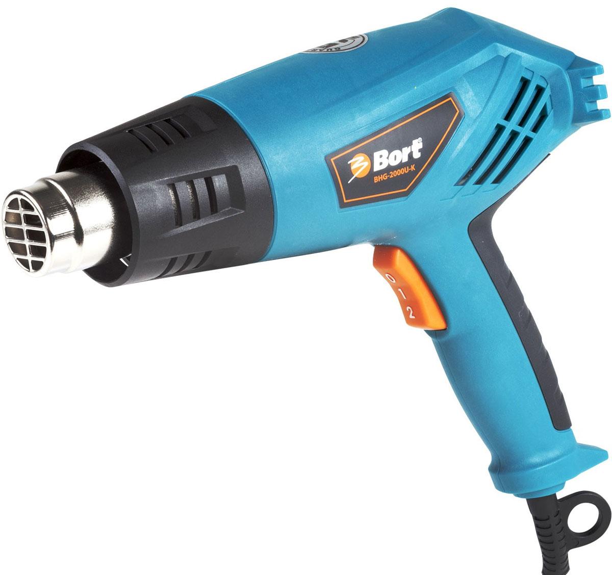 Строительный фен Bort BHG-2000U-KBHG-2000U-KТехнический фен Bort BHG-2000U-K поможет быстро и качественно снять старую масляную краску с деревянных поверхностей, высушить небольшой объект, нагреть термоусадочную трубку. Фен имеет два режима работы и устройство, защищающее от перегрева. Фен отличается оригинальным дизайном, конструкция рукоятки предохраняет руку пользователя от контакта с обрабатываемой поверхностью. Выпуклая форма сопла исключает возможность его перекрытия при работе. Возможность вертикальной установки 2 режима работы Термопредохранитель