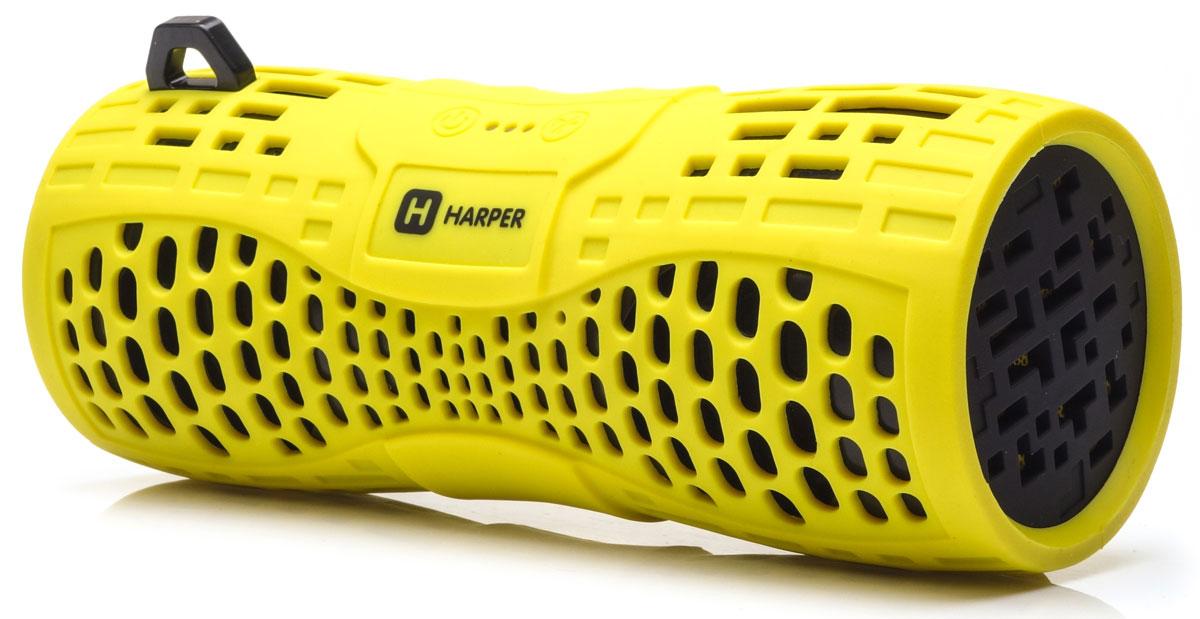 Harper PS-045, Yellow портативная акустическая системаH00001020Harper PS-045 - портативная акустическая система с влагозащищенным корпусом и встроенным микрофоном. Представленная модель поддерживает высокоскоростное беспроводное соединение посредством Bluetooth, что в свою очередь позволяет использовать любые аудиоустройства или прочие девайсы, поддерживающие данную функцию, для воспроизведения звуковых файлов на расстоянии до 10 метров. Данная модель также оснащена входом Micro USB, разъемом AUX, а также степенью защиты IPX6, благодаря чему способна превратиться в маленький музыкальный центр. Обладая компактными размерами колонка без труда поместится в кармане рюкзака или походной сумки. Аккумулятор: 1000 мАч Время зарядки: 2,5 часа