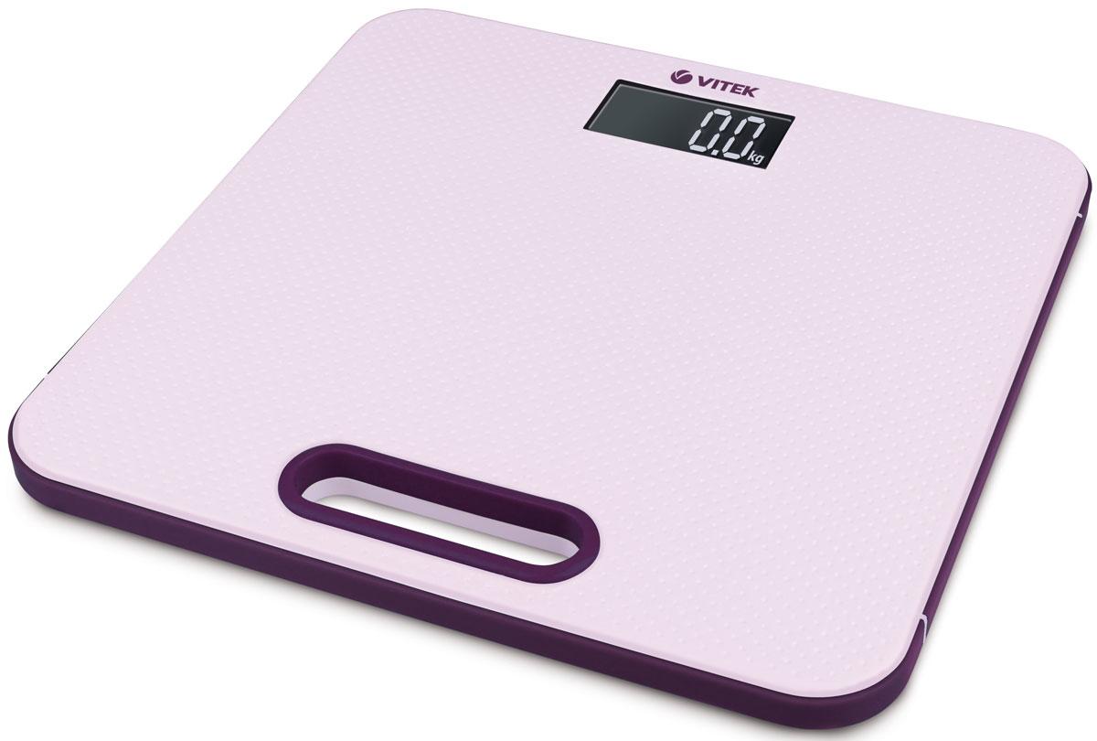 Vitek VT-1968(P), Pink весы напольныеVT-1968(P)Vitek VT-1968(P) - напольные весы с ярким дизайном, которые наполнят ваш дом отличным настроением! Простые и удобные в работе, они позволят легко определить свой вес с точностью до 100 грамм. Вам стоит лишь установить весы на ровную поверхность, встать на них, а дальше умное устройство автоматически включится и определит ваш вес в килограммах, стоунах или фунтах. Платформа выдержит вес до 180 кг, а если вес превысит допустимую норму, об этом сообщит индикатор перегрузки. LCD дисплей с подсветкой позволит вам даже в темноте определить результаты взвешивания. О низком заряде батареи оповестит специальный индикатор.