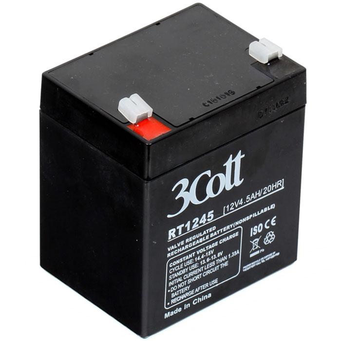3Cott 12V4.5Ah аккумулятор для ИБП3Cott-12V4.5AHАккумулятор 3Cott 12V4.5Ah может применяться в самых разных источниках бесперебойного питания, портативных устройствах, и других случаях, где есть необходимость качественного источника энергии, и небольших размеров. Данная модель отличается быстрым процессом зарядки, рассчитан на продолжительную работу, не обладает эффектом памяти и легко восстанавливает работоспособность после глубокого разряда. Аккумулятор полностью герметичен и жаропрочен, загущенный непроливной электролит позволяет использование данных аккумуляторных батарей практически в любом положении. Модель имеет предохранительный клапан, который выводит образованные внутри батареи, (в случае перезаряда) газы, за пределы корпуса, что предотвращает вздутие и выход АКБ из строя. Клеммы типа Т2