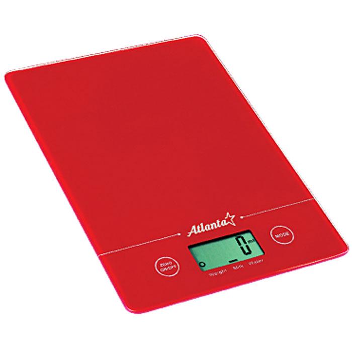 Atlanta ATH-801, Red весы кухонныеATH-801_redКухонные электронные весы Atlanta ATH-801 - незаменимые помощники современной хозяйки. Они помогут точно взвесить любые продукты и ингредиенты. Кроме того, позволят людям, соблюдающим диету, контролировать количество съедаемой пищи и размеры порций. Предназначены для взвешивания продуктов с точностью измерения до 1 грамма. Замеряет объем молока и воды Очень тонкий корпус Функция обнуления веса