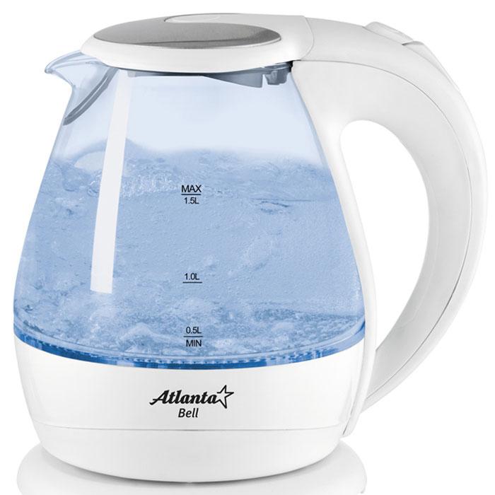 Atlanta ATH-2460 электрический чайникATH-2460Корпус чайника Atlanta ATH-2460 выполнен из стекла, не придающего посторонних привкусов воде, а потому вы насладитесь ароматом и насыщенным вкусом чая. Скрытый нагревательный элемент, индикация работы, подсветка, длинный сетевой шнур и блокировка работы техники при отсутствии воды в емкости - все это является неоспоримыми преимуществами этого устройства. Чайник Atlanta ATH-2460 безопасен в использовании и автоматически отключается при закипании воды. Прибор выключается, когда воды в чайнике недостаточно. Он работает от электрической сети, поэтому потребность использования газовой плиты исключена, что особенно важно при их эксплуатации детьми. Пользоваться электрическим чайником Atlanta ATH-2460 очень просто. Налив воды в емкость, вам достаточно установить чайник на специальную подставку и включить его. Спустя несколько секунд вы можете наливать чай и наслаждаться горячим напитком.