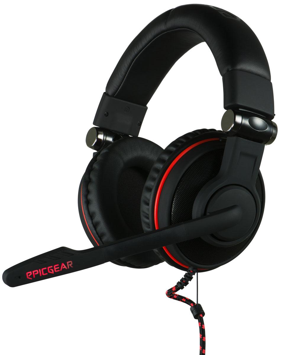 EpicGear SonorouZ X игровая гарнитураEGASZ1-7UWB-AMSGEpicGear SonorouZ X обеспечивает великолепный звук благодаря паре 50-миллиметровых динамиков. Улучшенные звуковые характеристики добавляют звучанию объем. Материал амбушюр выполнен из высококачественного кожзаменителя с функцией запоминания формы головы. Наушники плотно и мягко прилегают к голове, полностью изолируя проникновение внешних шумов. Мультифункциональный линейный контроллер имеет возможность регулировки основных функций наушников и микрофона. Предусмотрена возможность мгновенного переключения между режимом прослушивания музыки EG и режимом игр EQ. Высокое качество внутри игровой коммуникации достигается с помощью всестороннего микрофона. Микрофон точно передает речь и участники команды хорошо слышат своего партнера. Армированный плетеный кабель имеет дополнительную защиту от излома в местах присоединения к наушникам. Регулируемое оголовье исключает случайное падение или соскальзывание гарнитуры с головы игрока. ...