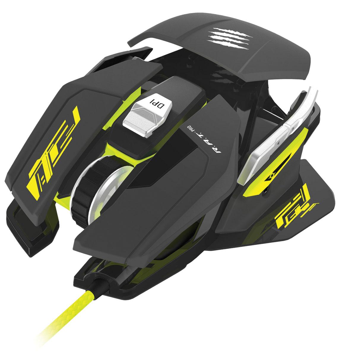 Mad Catz R.A.T. PRO S игровая мышь (MCB4372200A6/04/1)PCAmc44Игровые мыши серии Mad Catz R.A.T. PRO известны как самые передовые в мире. Игровая мышь R.A.T. PRO S продолжает эту традицию. Ее характеристики подходят для участия в турнирах, а скорость и быстрота реакции призваны обеспечить победу.В создании мыши R.A.T. PRO S основную роль играли геймеры, принимающие участие в турнирах.За годы разработки Mad Catz оставили только те характеристики, которые необходимы именно им. В конечном счете, в R.A.T. PRO S есть все, что нужно для турнирной мыши и ничего лишнего.Возможность настройки и регулирования – определяющая часть всех высокоэффективных игровых мышек R.A.T. Это то, что формирует игровую составляющую. Мышь R.A.T. PRO S можно регулировать в длину и по углу хвата – упор для основания ладони может наклоняться на 15 градусов и удлиняться до 12 мм от стандартного размера. Теперь вы можете легко найти то, что подходит именно вашему размеру и типу хвата.Точный сенсор – ключ к победе на турнире и инфракрасный оптический сенсор PixArt PMW3310 именно такой. FPS, MMO и RTS игроки могут быть уверены, что всех их движения будут выверены до пикселя благодаря этому надежному сенсору с разрешением 5000 dpi. Благодаря отсутствию корректировок по ускорению и ПО, в ваших руках контроль ситуации на 100%.Идеально подходит тем, кто предпочитает оптические сенсоры или профессиональным игрокам MOBA, желающим полностью контролировать свои действия.Хотите ли вы настроить скорость персонажа в играх типа MOBA или точность снайпера в FPS, две различные опции доступны благодаря переключению типов разрешения. К тому же, если скачать программное обеспечение для ПК, можно установить четкие значения для отдельной кнопки Precision Aim. Чтобы мгновенно изменить чувствительность через изменение разрешения, нужно просто удерживать кнопкуPrecision Aim для немедленного переключения на установленное вами через ПО разрешение.Мышь R.A.T. PRO S весит ровно 77 грамм (без кабеля) и является одной из самых л