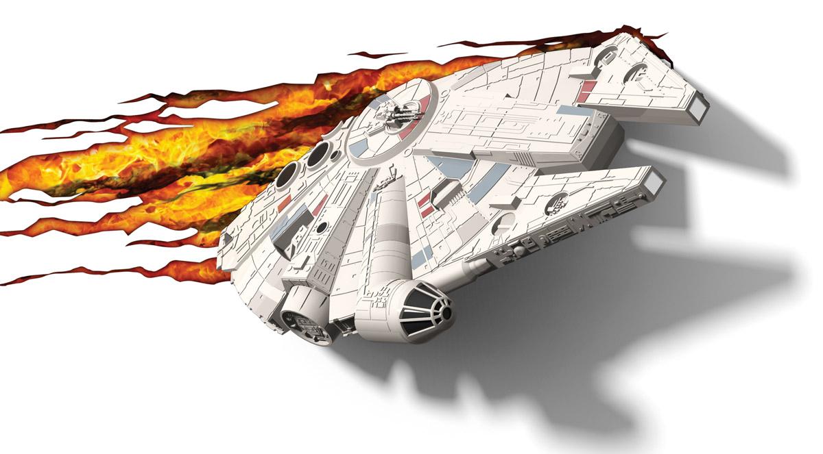 Star Wars Пробивной 3D светильник Тысячелетний сокол50034Пробивной 3D светильник Star Wars Тысячелетний сокол обязательно понравится вашему ребенку. Особенности: Безопасный: без проводов, работает от батареек (3хАА, не входят в комплект); Не нагревается: всегда можно дотронуться до изделия; Реалистичный: 3D наклейка-имитация трещины в комплекте; Фантастический: выглядит превосходно в любое время суток; Удобный: простая установка (автоматическое выключение через полчаса непрерывной работы). Товар предназначен для детей старше 3 лет. ВНИМАНИЕ! Содержит мелкие детали, использовать под непосредственным наблюдением взрослых.