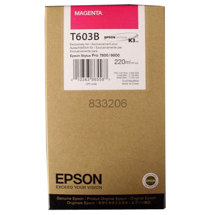 Epson T603B (C13T603B00), Magenta картридж для Stylus PRO 7800/9800C13T603B00Картридж Epson T603B для струйных принтеров Epson Stylus PRO 7800/9800. Расходные материалы Epson для печати максимизируют характеристики принтера. Обеспечивают повышенную четкость изображения и плавность переходов оттенков и полутонов, позволяют отображать мельчайшие детали изображения. Обеспечивают надежное качество печати.