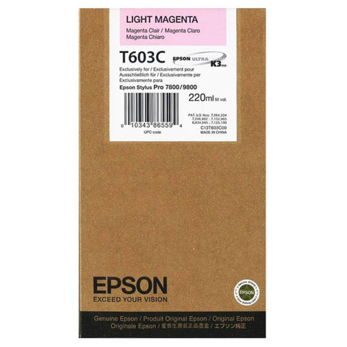 Epson T603C (C13T603C00), Light Magenta картридж для Stylus PRO 7800/9800C13T603C00Картридж Epson T603C для струйных принтеров Epson Stylus PRO 7800/9800. Расходные материалы Epson для печати максимизируют характеристики принтера. Обеспечивают повышенную четкость изображения и плавность переходов оттенков и полутонов, позволяют отображать мельчайшие детали изображения. Обеспечивают надежное качество печати.