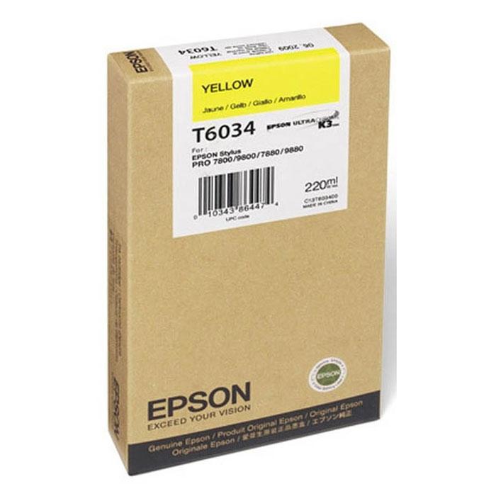 Epson T6034 (C13T603400), Yellow картридж для Stylus PRO 7800/7880/9800/9880C13T603400Картридж Epson T6034 для струйных принтеров Epson Stylus PRO 7800/7880/9800/9880. Расходные материалы Epson для печати максимизируют характеристики принтера. Обеспечивают повышенную четкость изображения и плавность переходов оттенков и полутонов, позволяют отображать мельчайшие детали изображения. Обеспечивают надежное качество печати.