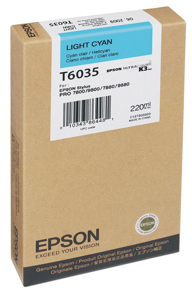 Epson T6035 (C13T603500), Light Cyan картридж для Stylus PRO 7800/7880/9800/9880C13T603500Картридж Epson T6035 для струйных принтеров Epson Stylus PRO 7800/7880/9800/9880.Расходные материалы Epson для печати максимизируют характеристики принтера. Обеспечивают повышенную четкость изображения и плавность переходов оттенков и полутонов, позволяют отображать мельчайшие детали изображения. Обеспечивают надежное качество печати.