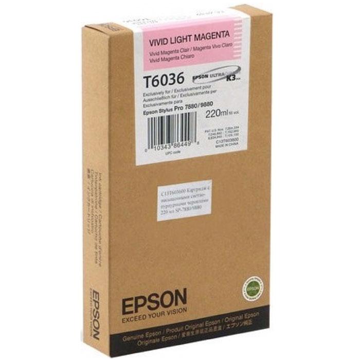Epson T6036 (C13T603600), Vivid Light Magenta картридж для Stylus PRO 7880/9880C13T603600Картридж Epson T6036 для струйных принтеров Epson Stylus PRO 7880/9880. Расходные материалы Epson для печати максимизируют характеристики принтера. Обеспечивают повышенную четкость изображения и плавность переходов оттенков и полутонов, позволяют отображать мельчайшие детали изображения. Обеспечивают надежное качество печати.