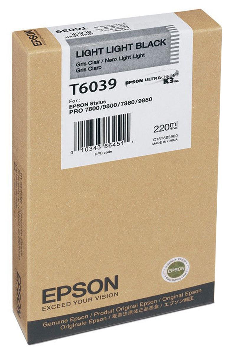 Epson T6039 (C13T603900), Light Light Black картридж для Stylus PRO 7800/7880/9800/9880C13T603900Картридж Epson T6039 для струйных принтеров Epson Stylus PRO 7800/7880/9800/9880. Расходные материалы Epson для печати максимизируют характеристики принтера. Обеспечивают повышенную четкость изображения и плавность переходов оттенков и полутонов, позволяют отображать мельчайшие детали изображения. Обеспечивают надежное качество печати.