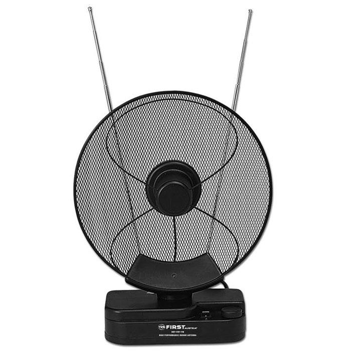 First FA-3102, Black комнатная ТВ-антеннаFA 3102 BlackТелевизионная антенна First FA-3102 обладает качественным приемом сигналов телевидения и радио. Антенна оснащена усилителем, поэтому возможно размещение вдали от окон. Принимающая часть устройства может вращаться на 180°.