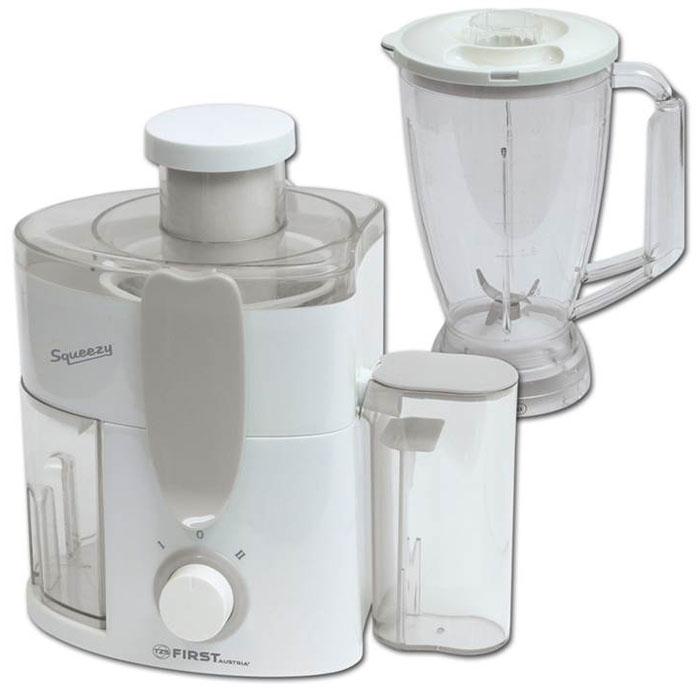 First FA-5212-1, White соковыжималка с блендеромFA-5212-1 WhiteСоковыжималка с блендером First FA-5212-1 имеет корпус из прочного и надежного пластика. Получаемый сок накапливается в резервуаре емкостью 0,25 л. Прибор имеет 2 скорости и импульсный режим. В комплект входит отличный блендер с чашей объемом 1,5 литра.