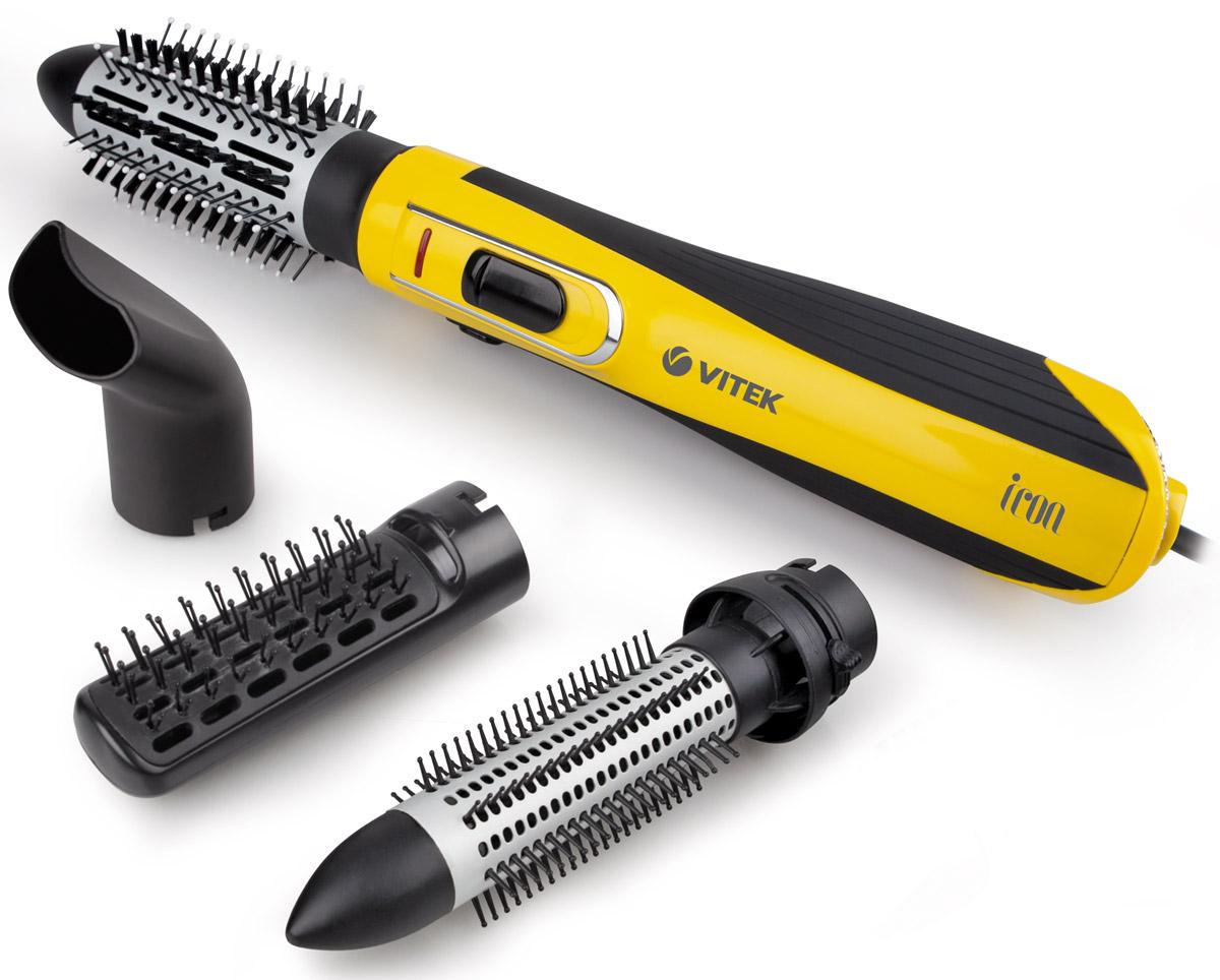 Vitek VT-2509(Y) фен-щеткаVT-2509(Y)Совершенно новый подход к укладке волос вам позволит открыть для себя фен-щетка VT-2509 Y. Стильно и компактное устройство поможет не только сделать самые невероятные варианты укладки волос в шикарные локоны, но и сохранить здоровье волос. Инновационное покрытие решетки Tourmaline Ionic при нагревании горячим воздухом образует отрицательные ионы, которые запечатывают чешуйки волос – это значит, что вы можете забыть о неприятном эффекте электризации волос и радоваться их шелковой гладкости. Еще одна технология Aqua Ceramic равномерно распределяет тепло по нагреваемой поверхности – ваши волосы не пересушиваются и сохраняют естественную влагу. Две скорости воздушного позволят выбрать оптимальный для вашей укладки. А наличие четырех насадок помогут создавать различные вариации укладки. С термощетками 30 мм (с выдвижными зубчиками для автоматического освобождения локонов ) и 40 мм с керамическим покрытием вы сформируете локоны разного объема. Плоская щетка позволит выпрямить волосы, а...