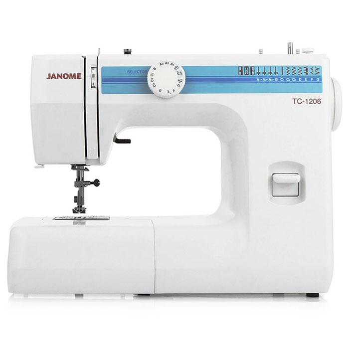 Janome TC-1206 швейная машинаTC1206Janome TC 1206 - швейная машина для шитья и ремонта одежды. Она оборудована надежным вертикальным качающимся челноком, применяемым в бытовых швейных машинах уже многие десятилетия. Модель позволяет выметывать прямые бельевые петли за 4 шага без поворота ткани - после выполнения каждой стороны петли нужно переключить программу на следующую сторону. Контроль длины производится по разметке на петельной лапке.Швейная машина оборудована регулятором давления лапки на ткань, что позволяет отрегулировать усилие прижима для получения качественной строчки, с заданной длиной стежка и отсутствием смещения слоев материала относительно друг друга. Кроме того в машинке предусмотрена возможность шитья двойной иглой.Janome TC-1206 выполняет необходимый набор основных строчек, которые пригодятся как для ремонта, так и для пошива новой одежды. Среди них шитье зигзагом, которое широко используется для обметки, аппликации и пришивания пуговиц; трижды усиленный стежок, который рекомендуется для шитья эластичных тканей или трикотажа, и где нужна крепость и прочность шва; обметочная; эластичная и другие. Установить желаемую строчку можно с помощью поворота колеса, расположенного на корпусе машинки.Конструкция швейной машины позволяет снять часть столика, образуя удобную рукавную платформу, на которой комфортно обрабатывать манжеты, штанины и другие трубчатые детали одежды. В пенале под крышкой столика предусмотрен удобный отсек для хранений дополнительных принадлежностей.Благодаря встроенной подсветке рабочей области можно комфортно работать даже в условиях слабой освещенности.
