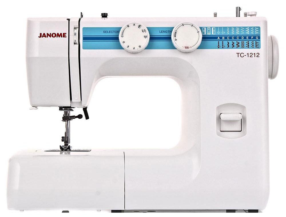 Janome TC 1212 швейная машинаTC1212Janome TC 1212 - швейная машина для шитья и ремонта одежды. Она оборудована надежным вертикальным качающимся челноком, применяемым в бытовых швейных машинах уже многие десятилетия. Модель позволяет выметывать прямые бельевые петли за 4 шага без поворота ткани - после выполнения каждой стороны петли нужно переключить программу на следующую сторону. Контроль длины производится по разметке на петельной лапке. Швейная машина оборудована регулятором давления лапки на ткань, что позволяет отрегулировать усилие прижима для получения качественной строчки, с заданной длиной стежка и отсутствием смещения слоев материала относительно друг друга. Кроме того в машинке предусмотрена возможность шитья двойной иглой. Среди строчек, которые доступны в данной модели, имеется зигзаг с разной плотностью стежков, эластичная, оверлочная, потайная подгибка, стрейчевая для трикотажа, а также несколько декоративных строчек (фестон, соты). Кроме того, машинка выполняет...