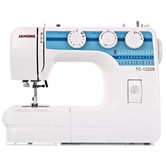 Janome TC 1222 S швейная машинаTC1222SJanome TC 1222 S - швейная машина для шитья и ремонта одежды. Она оборудована надежным вертикальным качающимся челноком, применяемым в бытовых швейных машинах уже многие десятилетия. Конструкция швейной машинки позволяет снять часть столика, образуя удобную рукавную платформу, на которой комфортно обрабатывать манжеты, штанины и другие трубчатые детали одежды. В пенале под крышкой столика предусмотрен удобный отсек для хранений дополнительных принадлежностей. Среди строчек, которые доступны в данной модели, имеется зигзаг с разной плотностью стежков, эластичная, оверлочная, потайная подгибка, стрейчевая для трикотажа, а также несколько декоративных строчек (фестон, соты). Кроме того, машинка выполняет усиленную (тройную) прямую строчку, по виду напоминающую цепочку. Модель также укомплектована четырьмя лапками: универсальной, для втачивания молнии, автоматического выметывания петли и потайной подгибки. Установить желаемую строчку можно с...
