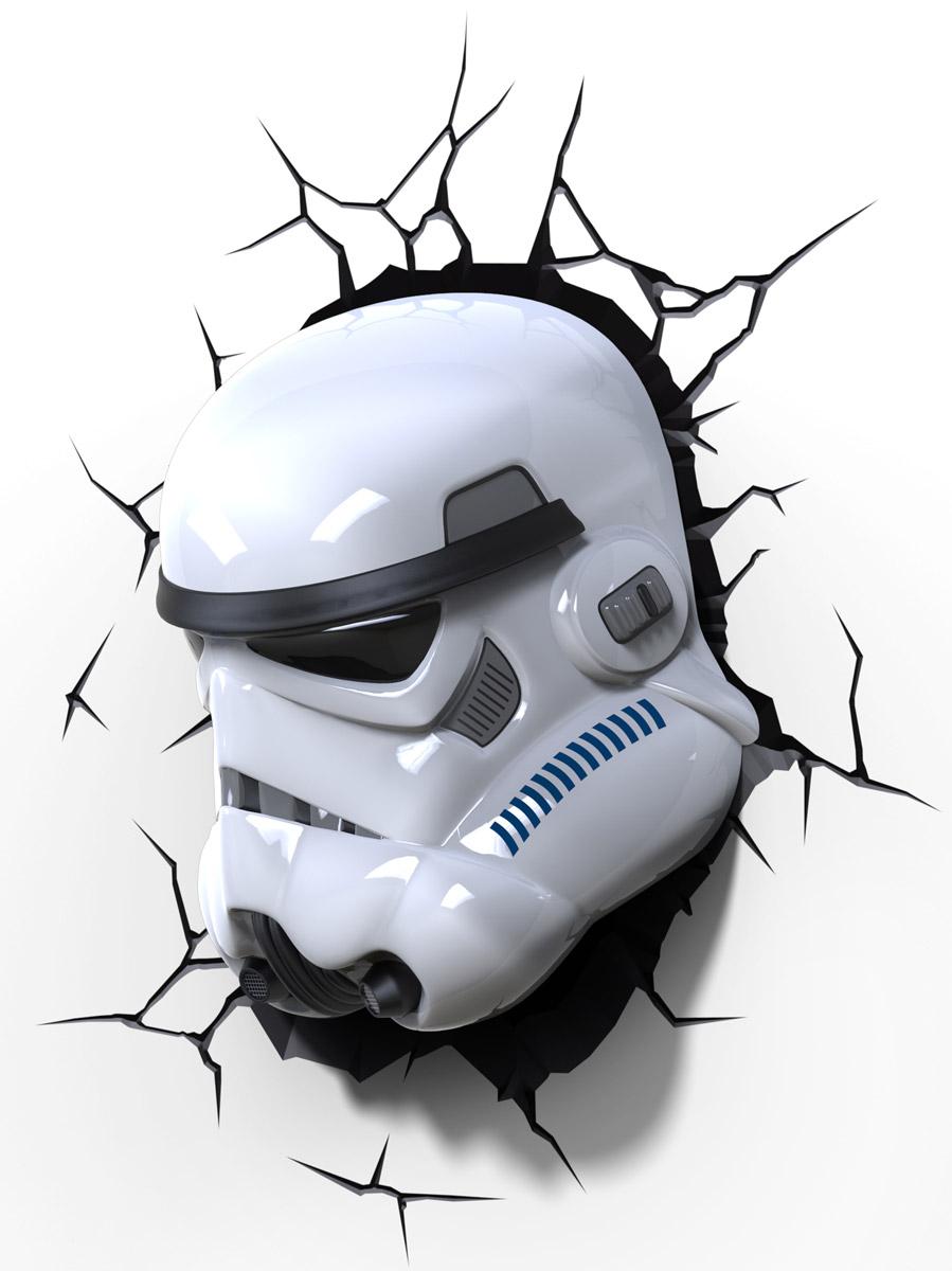 Star Wars Пробивной 3D светильник Штормтрупер50028Пробивной 3D светильник Star Wars Штормтрупер обязательно понравится вашему ребенку. Особенности: Безопасный: без проводов, работает от батареек (3хАА, не входят в комплект); Не нагревается: всегда можно дотронуться до изделия; Реалистичный: 3D наклейка-имитация трещины в комплекте; Фантастический: выглядит превосходно в любое время суток; Удобный: простая установка (автоматическое выключение через полчаса непрерывной работы). Товар предназначен для детей старше 3 лет. ВНИМАНИЕ! Содержит мелкие детали, использовать под непосредственным наблюдением взрослых.