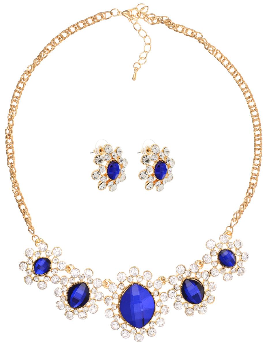 Комплект украшений Taya, цвет: золотистый, белый, синий. T-B-10860 T-B-10860-SET-GL.D.BLUE