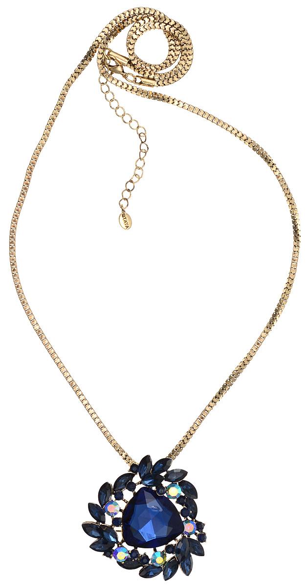 Кулон-брошь Taya, цвет: золотистый, синий. T-B-10931T-B-10931-NECK-GL.NAVYКулон-брошь Taya выполнен из металлического сплава и дополнен объемной цепочкой. Кулон инкрустирован крупным граненым кристаллом и сияющими стразами. Кулон оснащен петлей для подвешивания и застежкой-булавкой, что делает этот аксессуар универсальным. Цепочка застегивается на замок-карабин. Длина цепочки регулируется за счет дополнительных звеньев. Кулон-брошь Taya поможет дополнить любой образ и привнести в него завершающий штрих.