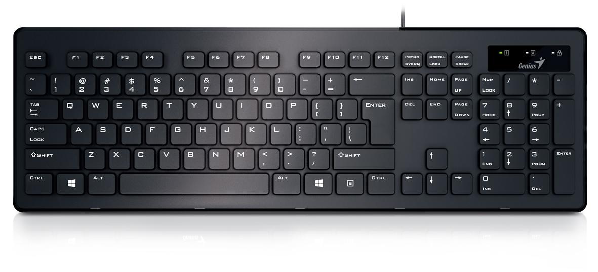 Genius SlimStar 130, Black клавиатура31300714103Genius представляет клавиатуру Genius SlimStar 130. Она выполнена в элегантном черном дизайне, а так же обладает необходимым набором функций. Тонкая конструкция клавиатуры обеспечивает комфортное положение рук. Особенная структура клавиш обеспечивает превосходную тактильную отдачу, бесшумное нажатие и длительную комфортную работу.