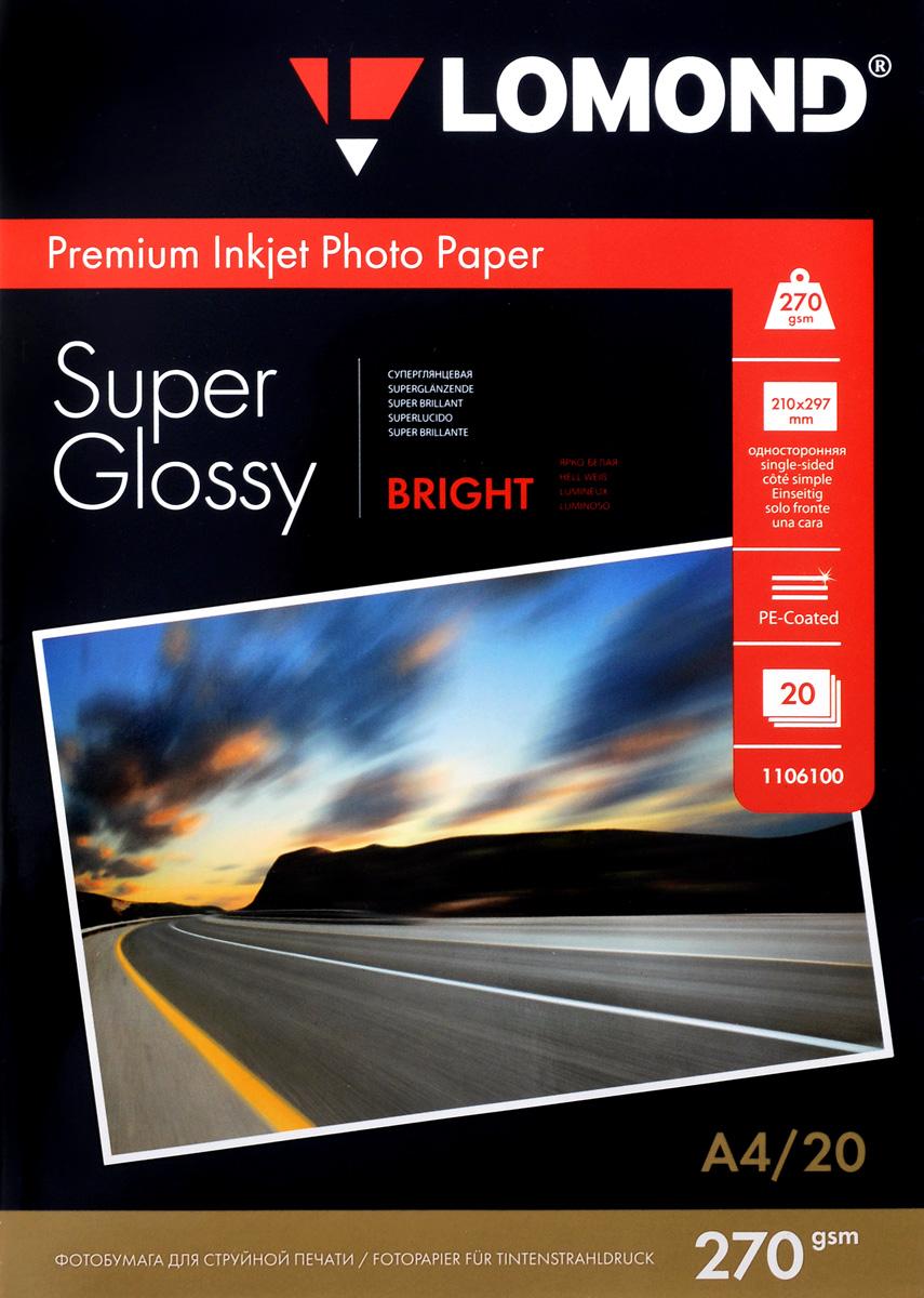 Lomond Super Glossy 270/A4/20л суперглянцевая1106100Основа: RC (Resin Coated) Тип покрытия: Микропористое