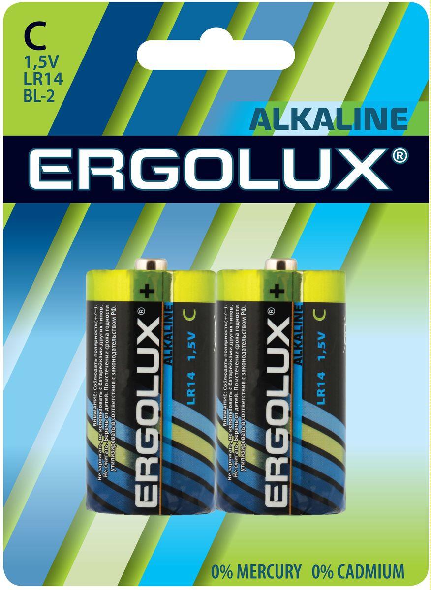 Батарейка алкалиновая Ergolux, тип LR14, 2 шт, 1.5 В11751