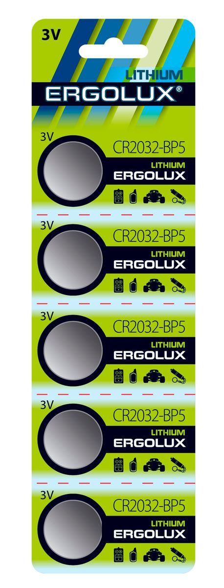 Батарейка литиевая Ergolux, тип CR2032, 5 шт, 3 В12051