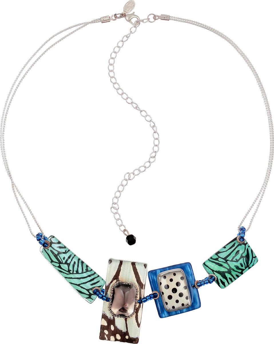 Колье Lalo Treasures Row, цвет: серебристый, голубой, синий. P4500-2P4500-2Яркое колье современного дизайна Lalo Treasures Row изготовлено из металлического сплава. Украшение дополнено декоративными элементами из ювелирной смолы. Изделие застегивается на замок-карабин, длина регулируется. Стильное украшение поможет дополнить любой образ и привнести в него завершающий яркий штрих.