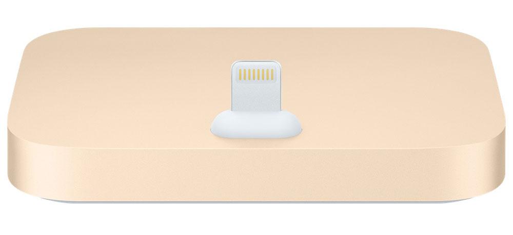 Apple iPhone Lightning Dock, Gold док-станцияML8K2ZM/AДок-станция для iPhone с разъёмом Lightning выпускается в металлическом корпусе четырёх цветов, идеально подходящих к iPhone.Apple iPhone Lightning Dock позволяет заряжать и синхронизировать любой iPhone с разъёмом Lightning. Во время зарядки и синхронизации девайс устанавливается на док-станцию вертикально, поэтому куда бы вы её ни поставили, вам будет отлично виден экран. Смартфон легко устанавливается на док-станцию даже в чехле Apple. Кроме того, вы можете разблокировать iPhone или использовать Touch ID, не снимая его с док-станции. Поместите ваш iPhone на док-станцию и разговаривайте по громкой связи - качество звука будет превосходным. Вы также можете подключить док-станцию к компьютеру с помощью кабеля USB (входит в комплект поставки iPhone) для зарядки и синхронизации.При помощи разъема 3,5 мм можно прослушивать музыку во время зарядки и синхронизации. Подключите к док-станции активные динамики или стереосистему с помощью кабеля 3,5 мм (продаётся отдельно), чтобы слушать на iPhone музыку и подкасты.