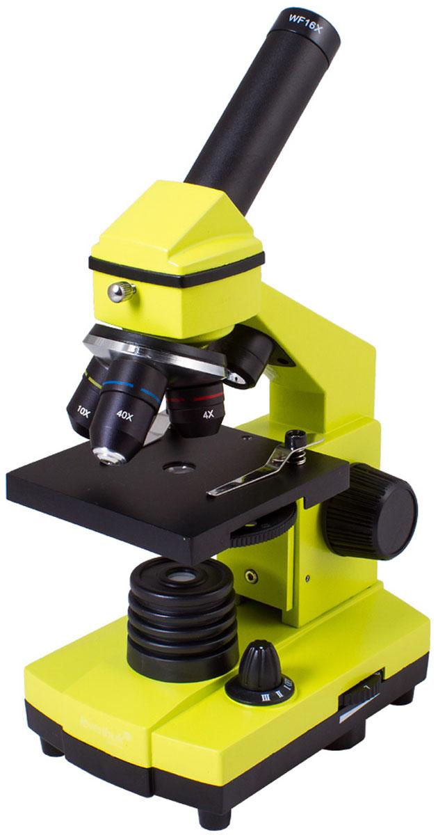Levenhuk Rainbow 2L Plus, Lime микроскопXSP-42 metal Pantone #388CМикроскоп Levenhuk Rainbow 2L Plus понравится и школьнику, увлекающемуся биологией, и студенту-медику, проводящему десятки различных исследований. У этой модели много достоинств: качественная просветленная оптика, увеличение от 64 до 640 крат, возможность изучения прозрачных и непрозрачных препаратов, надежная конструкция. Те, кто только начинает знакомство с микромиром, оценят набор для опытов, который идет в комплекте. Кроме того, благодаря яркому и стильному дизайну Levenhuk Rainbow 2L Plus сразу выделяется на фоне стандартных биологических микроскопов.Оптика высокого качества:От качества оптики зависит качество изображения, поэтому при производстве серии Levenhuk Rainbow 2L Plus использованы только лучшие материалы. Все линзы сделаны из специального оптического стекла - оно отличается высокой прозрачностью и не искажает картинку. Дополнительно на оптические поверхности нанесено многослойное просветляющее покрытие, которое повышает коэффициент светопропускания и увеличивает яркость и контрастность изображения.В револьверном устройстве установлены объективы, с которыми микроскоп дает увеличения 64, 160 и 640 крат. Чтобы поменять кратность, нужно повернуть револьверное устройство. Объектив с наибольшим увеличением (40xs) снабжен защитным пружинным механизмом - хрупкая оптика не повредится, если неопытный исследователь неосторожно заденет объективом препарат.Возможность изучения прозрачных и непрозрачных образцов:Микроскоп снабжен двумя осветителями - это позволило расширить его возможности. Чтобы увидеть микроорганизмы в капле воды или рассмотреть клеточную структуру растений, используйте нижнюю подсветку. Верхний осветитель применяется для изучения непрозрачных объектов - с его помощью можно оценить качество бумаги или обнаружить не видимые невооруженным глазом царапины и вмятины на монете. Полупрозрачные объекты хорошо различимы, если включить сразу обе подсветки. Яркость подсветки регулируется - т