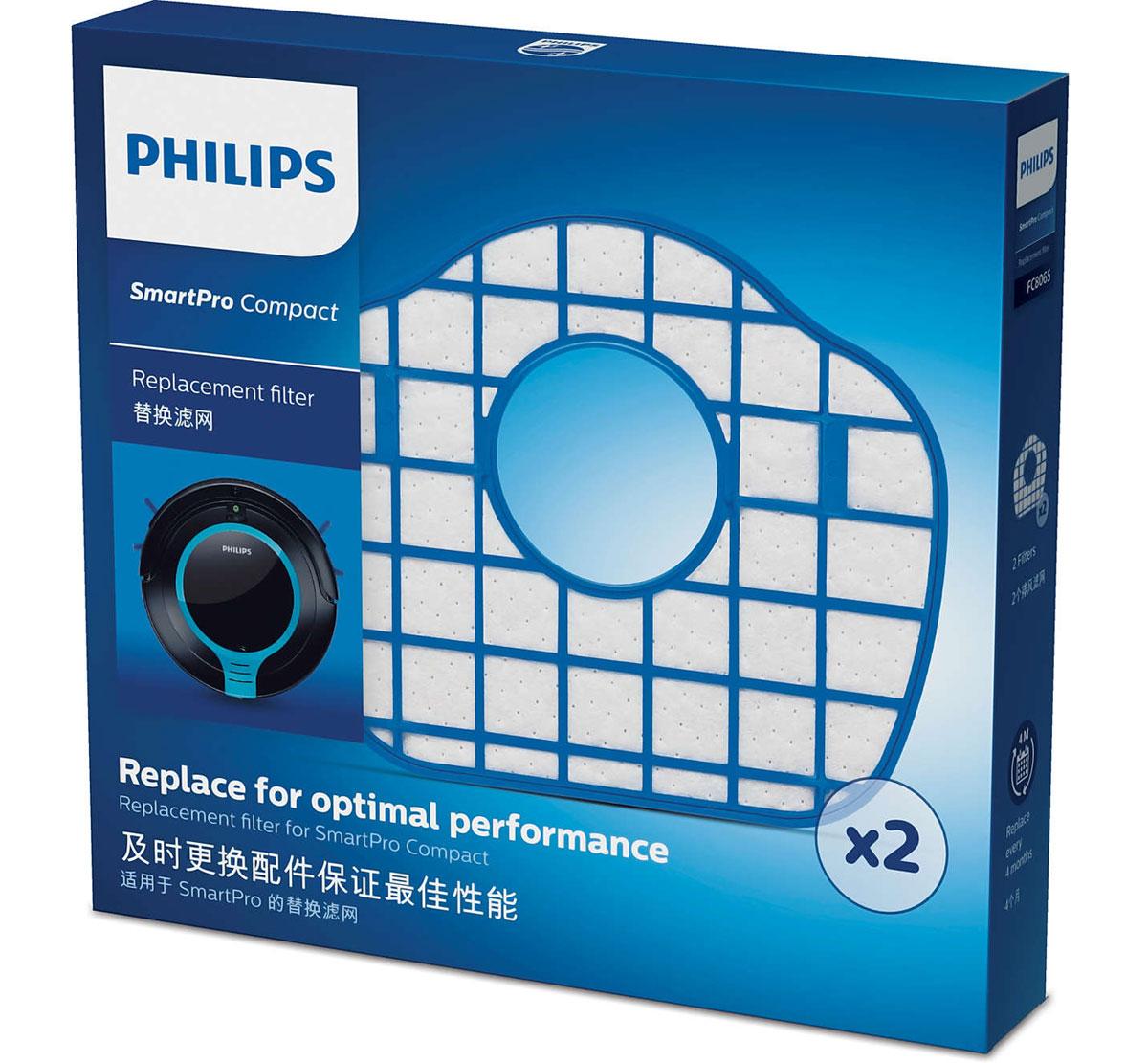 Philips FC8065/01 набор аксессуаров для робот-пылесосов SmartPro CompactFC8065/01В комплект Philips FC8065/01 входят 2 фильтра выходящего воздуха, каждый фильтр необходимо заменять один раз в четыре месяца для продления срока службы робота-пылесоса и поддержания оптимальной производительности.