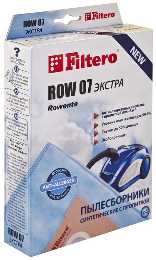 Filtero ROW 07 Экстра мешок-пылесборник для Rowenta, 4 штROW 07 ЭКСТРАПылесборники Filtero ROW 07 Экстра произведены из синтетического микроволокна MicroFib с антибактериальной пропиткой Anti-Bac. Очень прочные, они не боятся острых предметов и влаги, собирают больше пыли (до 50%) и обеспечивают уровень очистки воздуха 99,9%, а также задерживают бактерии и препятствуют их распространению. При этом мощность всасывания пылесоса сохраняется в течение всего периода службы пылесборника. Пылесборники подходят для следующих моделей пылесосов: Rowenta RO 4420 - RO 4490 Compact Silence Force RO 4521 - RO 4549 Silence Force RO 4621 - RO 4649 Compact Silence Force RO 4723 - RO 4762 Silence Force RO 5822 Silence Force Extreme RO 5825 Silence Force Extreme RO 5921 Silence Force Extreme