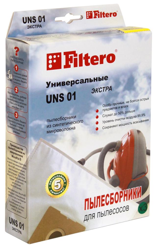 Filtero UNS 01 Экстра мешок-пылесборник, 3 штUNS 01 ЭКСТРАПылесборники Filtero UNS 01 Экстра пригодны для установки в любые пылесосы, конструкция которых допускает использование одноразовых пылесборников. Они произведены из синтетического микроволокна MicroFib. Очень прочные, они не боятся острых предметов и влаги, собирают больше пыли (до 50%) и обеспечивают уровень очистки воздуха 99,9%, что значительно выше, чем у бумажных пылесборников. При этом мощность всасывания пылесоса сохраняется в течение всего периода службы пылесборника. Внимание! Для использования универсального пылесборника необходимо иметь посадочное место (фланец) использованного пылесборника, подходящего к вашему пылесосу.