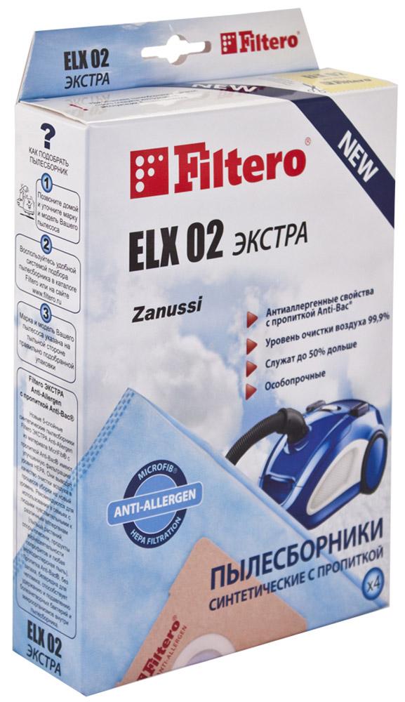Filtero ELX 02 Экстра мешок-пылесборник 4 штELX 02 ЭкстраМешки - пылесборники Filtero ELX 02 Экстра произведены из пятислойного синтетического микроволокна MicroFib. Очень прочные, не боятся острых предметов и влаги, собирают до 50% больше пыли, чем бумажные. Обеспечивают уровень очистки воздуха НЕРА. Сохраняют мощность всасывания в течение всего периода службы пылесборника.Антибактериальная пропитка Anti-Bac защищает от аллергенов и угнетает размножение бактерий в мешке. Рекомендуются для семей с детьми, людей, страдающих аллергией и заболеваниями дыхательных путей.