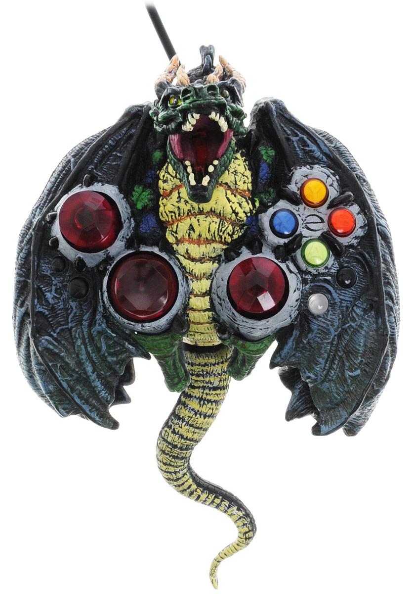 DVTech JS66 Horror Dragon геймпад для PC6930149999665С джойстиком DVTech JS66 Horror Dragon ваша игра наполнится новыми красками. Разве может она быть невыразительной, если в руках этот оригинальный девайс, обладающий собственным характером. Создается впечатление, что джойстик одет в настоящую драконью шкуру, в которую удачно интегрированы все необходимые элементы управления. Корпус джойстика обладает ребристой поверхностью, съемным резиновым хвостом и светодиодами, которые подсвечивают пасть дракона и в аналоговом режиме обеспечивают подсветку глаз.