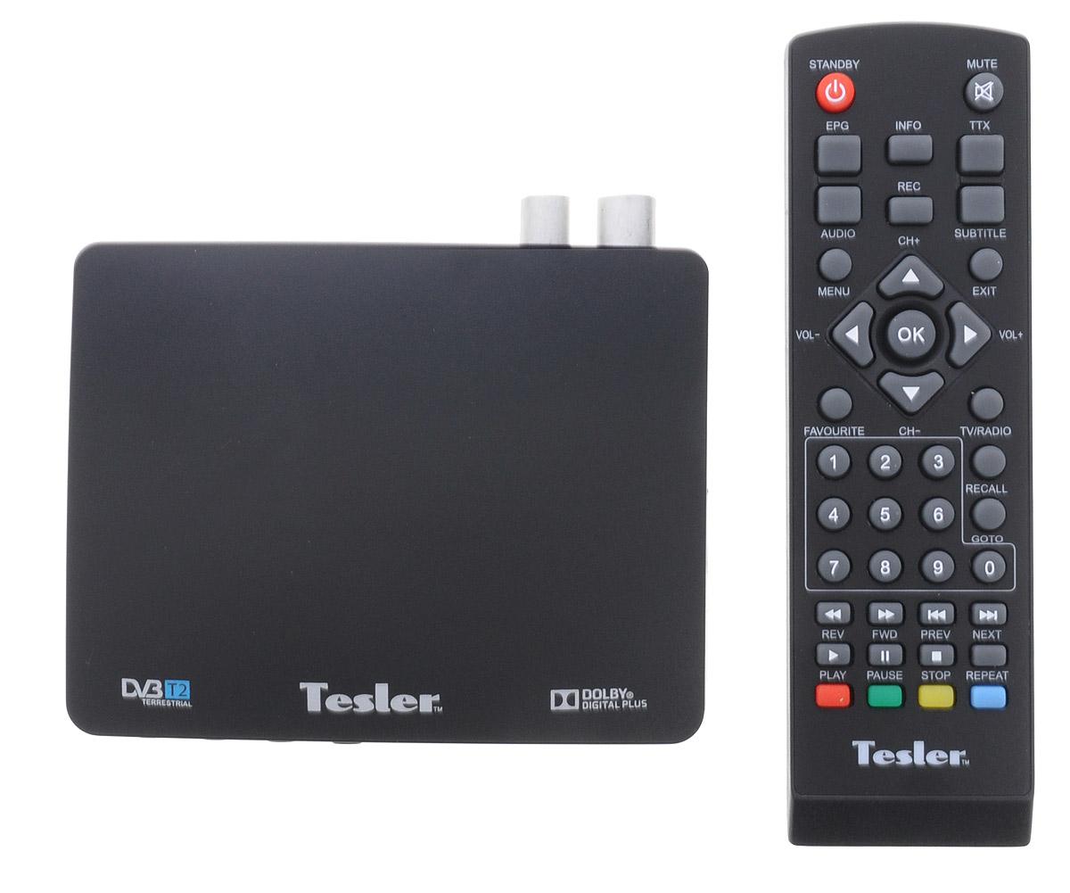 Tesler DSR-720 цифровой телевизионный ресивер DVB-T20295075Tesler DSR-720 - цифровой телевизионный ресивер с поддержкой цифровых стандартов DVB-T и DVB-T2. В данной модели реализована поддержка HD-разрешений 576p, 720p, 1080i, 1080p, а также множества аудио- и видеоформатов. Также присутствуют функции телегида, цифрового радио и PVR. Ресивер поддерживает телетекст и субтитры. Имеется возможность обновления программного обеспечения устройства. Система цвета: PAL / NTSC Чипсет: Novatek 78316 Тюнер: MXL603 Модуляция: QPSK/16QAM/64QAM/256QAM Входной поток: До 48 Мбит/с Уровень сигнала: 25-782 дБм