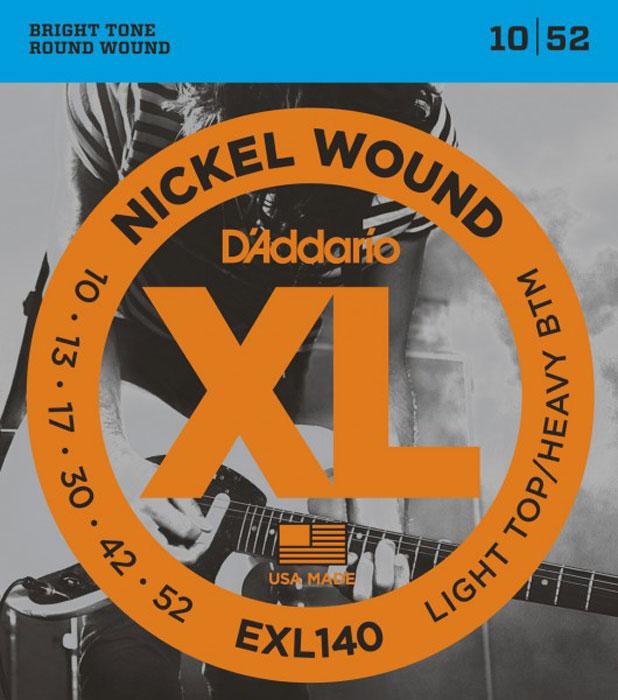 DAddario EXL140 струны для электрической гитарыDNT-13029Daddario EXL140 – один из наиболее популярных гибридных комплектов DAddario, сочетающий верхние струны из набора EXL110 (калибра .010) и тяжелые нижние струны (калибра .052). Такая комбинация обладает мощным низовым звуком, необходимым для пауэр-аккордов, а стальные струны без обмотки обеспечивают необходимую гибкость при оттягивании. Струны XL с никелевой обмоткой - самые популярные струны DAddario для электрогитары - выполняются в прецизионной обмотке из стали с никелевым покрытием, нанесенной на тщательно изготовленный сердечник шестигранного профиля из стали с высоким содержанием углерода. В результате получаются струны с долгим, отчетливо ярким звучанием и превосходной интонацией, идеально подходящие для самого широкого спектра гитар и музыкальных стилей. Первые струны: высокоуглеродистая сталь Басовые струны: сталь (никелевое покрытие) - круглая обмотка Шестигранный корд Натяжение: Light Top/Heavy Bottom