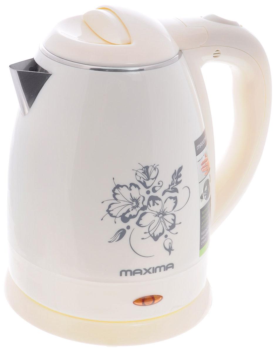 Maxima MK-M421, White электрический чайникMK-M421_WhiteСтильный чайник Maxima MK-M421 позволит быстро вскипятить нужное количество воды. Широко открывающаяся крышка и дисковый нагревательный элемент способствуют для комфортной эксплуатации чайника. Термостойкое покрытие корпуса защищает от ожога.
