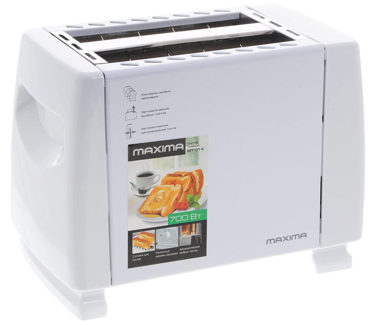 Maxima MT-014, White тостерМТ-014Maxima MT-014 - надежный и современный тостер, который оборудован двумя отделениями для хлеба и имеет семь уровней настройки поджаривания. Для удобства предусмотрен автоматический выброс.