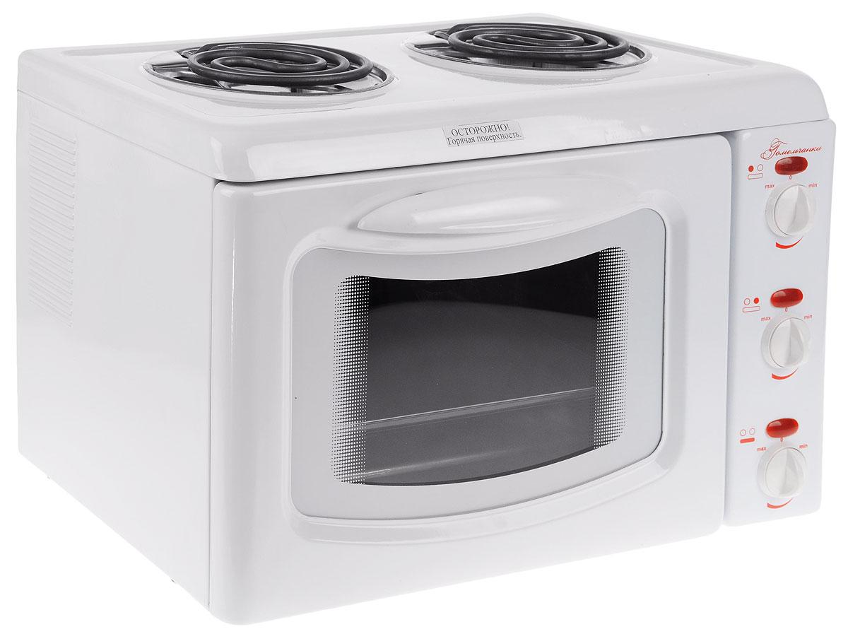 Гомельчанка ЭНТШ 5-2-2,8/2,0-220, White мини-печьЭНТШ5-2-2,8/2,0-220-01.1Мини-печь Гомельчанка - это небольшой многофункциональный прибор, выполняющий функцию плиты и духовки. Прибор идеально подходит для дачи, ведь он не требует специального подключения, а также станет прекрасным решением для малогабаритной кухни. Внутри мини-печи Гомельчанка расположены два нагревательных элемента, которые обеспечивают равномерное распределение тепла.