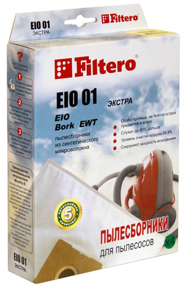 Filtero EIO 01 Экстра мешок-пылесборник 4 штEIO 01 ЭкстраМешки - пылесборники Filtero EIO 01 Экстра произведены из пятислойного синтетического микроволокна MicroFib. Очень прочные, не боятся острых предметов и влаги, собирают до 50% больше пыли, чем бумажные. Обеспечивают уровень очистки воздуха НЕРА. Сохраняют мощность всасывания в течение всего периода службы пылесборника.