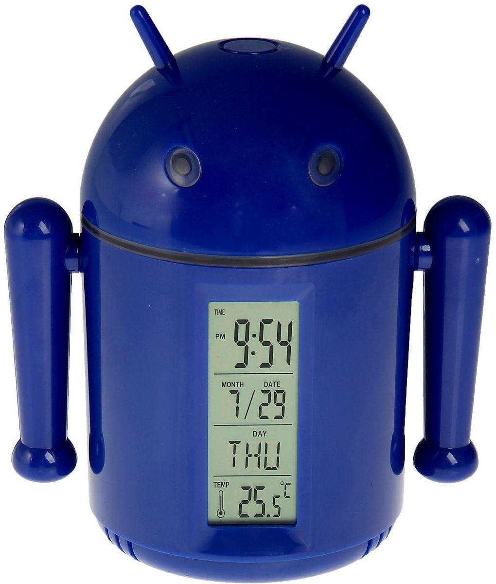 Sima-land Лампа настольная сенсорная Робот цвет синий1193589Сегодня особо ценятся уникальные креативные предметы интерьера, и настольная сенсорная лампа Sima-land Робот как раз из их числа. Лампа выполнена из качественного пластика в виде забавного зеленого робота с рожками. Голова робота поднимается над корпусом с помощью телескопических держателей и может поворачиваться под любым углом. На нижней поверхности головы робота расположены 20 ярких светодиодов, которые включаются с помощью кнопки на его макушке. Если провести пальцем или рукой между глаз робота, то они будут светиться. Руки робота подвижны. На лицевой стороне корпуса расположен жидкокристаллический дисплей, отображающий информацию о времени суток, дате и температуре окружающего воздуха. На нижней поверхности корпуса есть кнопочная панель для настройки часов, будильника, календаря и переключения отображения температуры в градусах Цельсия или Фаренгейта. Оригинальную лампу можно установить на стол или любую ровную поверхность, можно подвесить с помощью ремешка (в...