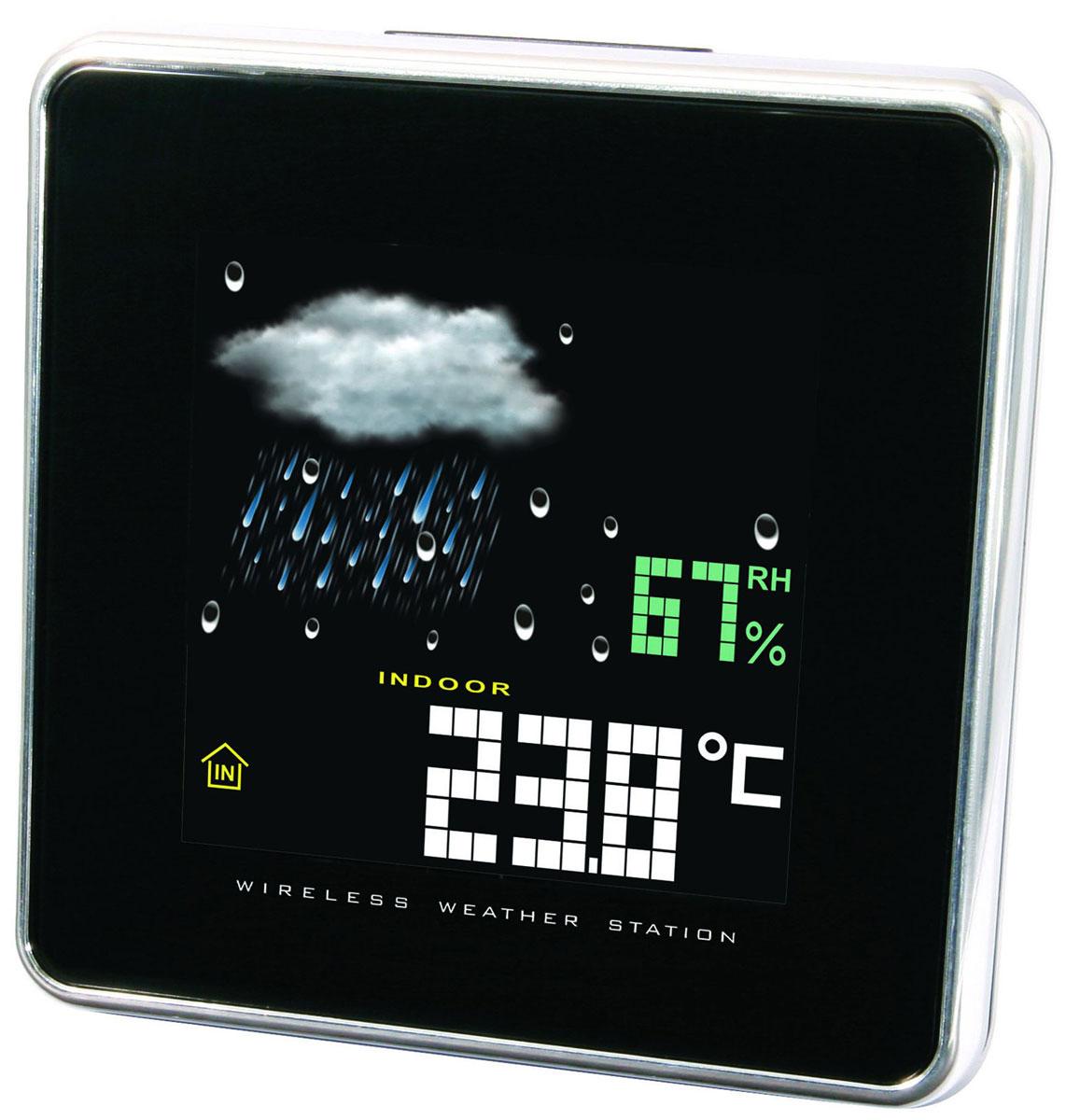 Uniel UTV-64 метеостанцияUTV-64Хотите утром узнать прогноз погоды, не вставая с кровати? Компактная настольная метеостанция Uniel UTV-64 станет отличным приобретением! Гаджет оснащен анимированным дисплеем, на котором отображается информация о температуре за окном, наличии или отсутствии осадков, об атмосферном давлении и даже уровне относительной влажности. Более того, метеостанция оснащена часами, будильником и календарем.Компактные размерыМетеостанция с беспроводным датчикомЦветной ЖК дисплейВысокоточный барометрИзмерение комнатной температуры и влажностиТрехканальный беспроводной датчик измерения температуры и влажностиАнимированный прогноз погодыЧасы с 12/24 форматом времени