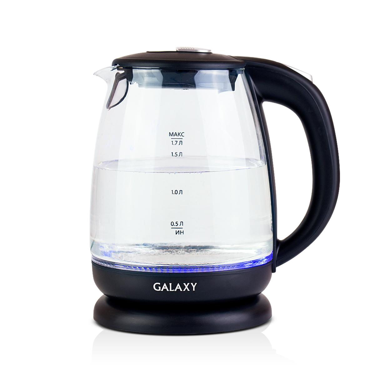 Galaxy GL 0550, Black чайник электрический4630003367662Электрический чайник Galaxy GL 0550 отвечает всем современным требованиям надежности и безопасности. При его производстве используются только высококачественные и экологически безопасные материалы, а также нагревательный элемент и контроллеры высокого класса надежности. Устройство будет служить вам долгие годы, наполняя ваш быт комфортом! Galaxy GL 0550 - это мощная (2200 Вт) модель объемом 1,7 л. С помощью этого чайника вы сможете приготовить чай на большую компанию за считанные минуты. Вращающийся корпус сделает использование чайника еще более удобным, а фильтр избавит от попадания накипи в чашку.