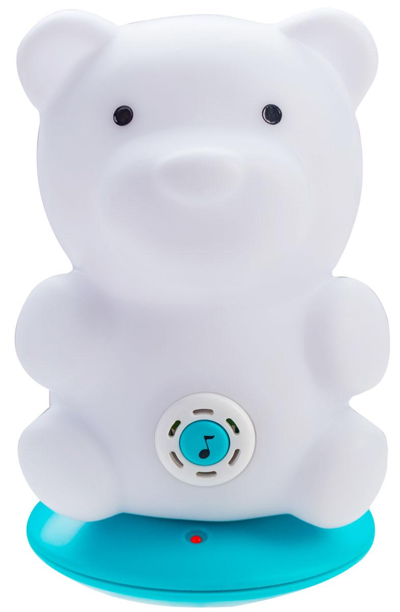 BabyOno Ночник с колыбельными Sleepy Bear961/02Ночник с колыбельными BabyOno Sleepy Bear был разработан с целью быстрого и спокойного засыпания вашего ребенка Ночник имеет 4 режима свечения, переключаемые с помощью кнопки в основании светильника: переменный (успокаивающий) свет, синий, зеленый, красный. Функция колыбельной активируется путем нажатия на кнопку с нотой на животе бегемотика. Каждое последующее нажатие переключает следующую колыбельную. Всего 5 колыбельных, каждая длительностью около минуты. Колыбельная повторяется 20 раз, после чего выключается. Светильник имеет функцию автоматического отключения - он самостоятельно выключится по истечении 30 минут работы. В комплект со светильником также входит база для зарядки встроенного аккумулятора светильника от электросети, блок питания, инструкция на русском языке. Игрушка работает от встроенного Li-Ion аккумулятора.