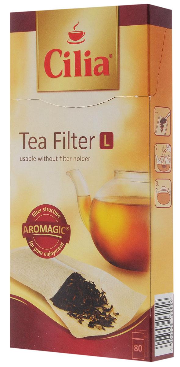 Melitta Cilia фильтры для чая, 80 шт0120710Melitta Cilia - бумажные фильтры для заваривания листового и гранулированного чая. Расширенное дно обеспечивает достаточно пространства для раскрытия листьев чая. Благодаря особой бумаге Aromagic фильтры полностью раскрывают вкус и аромат чая. Специальная удлиненная сторона помогает легко и просто засыпать чай. Надежный шов сделан без применения каких-либо дополнительных склеивающих веществ. Размер фильтра L идеален для использования в заварочном чайнике или для заварки таких объемных чаев как фруктовые и травяные.
